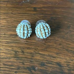 Gold and White J. Crew beaded studs